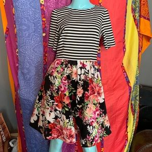 Eliza J Dress striped and floral Size 8